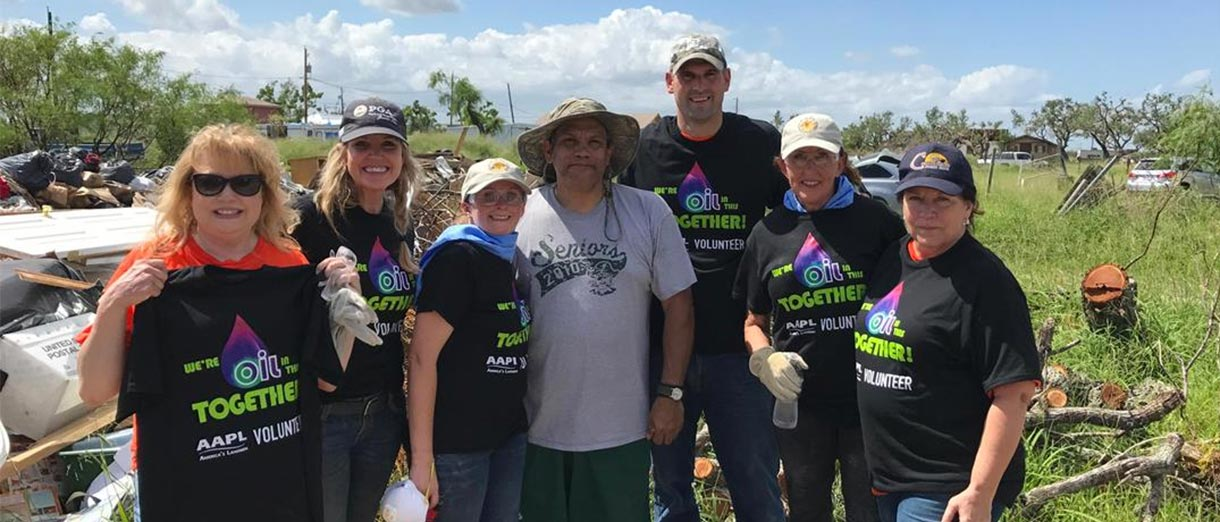 AAPL members and staff during the Disaster Relief workday in Rockport, TX after Hurricane Harvey. From left: Linda Schibi, Le'Ann Callihan, Mariah Martin, hurricane victim Arnesto Conzales, Matthew Crowell, Joanne Stoy and Nita Smith.